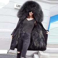 Fox Fur Parka Hooded Coats Women Fox Fur Lined Parkas Black Winter Thicken Warm Real Fur Mediun Coat Warm Female OuterwearFP1408