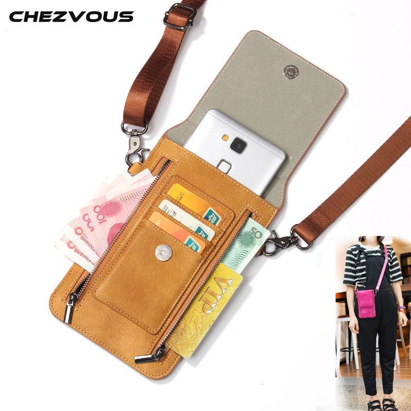 CHEZVOUS 4 Colors PU Leather 2 Zipper Phone Bag Vintage Women Shoulder Bags Crossbody Bags For