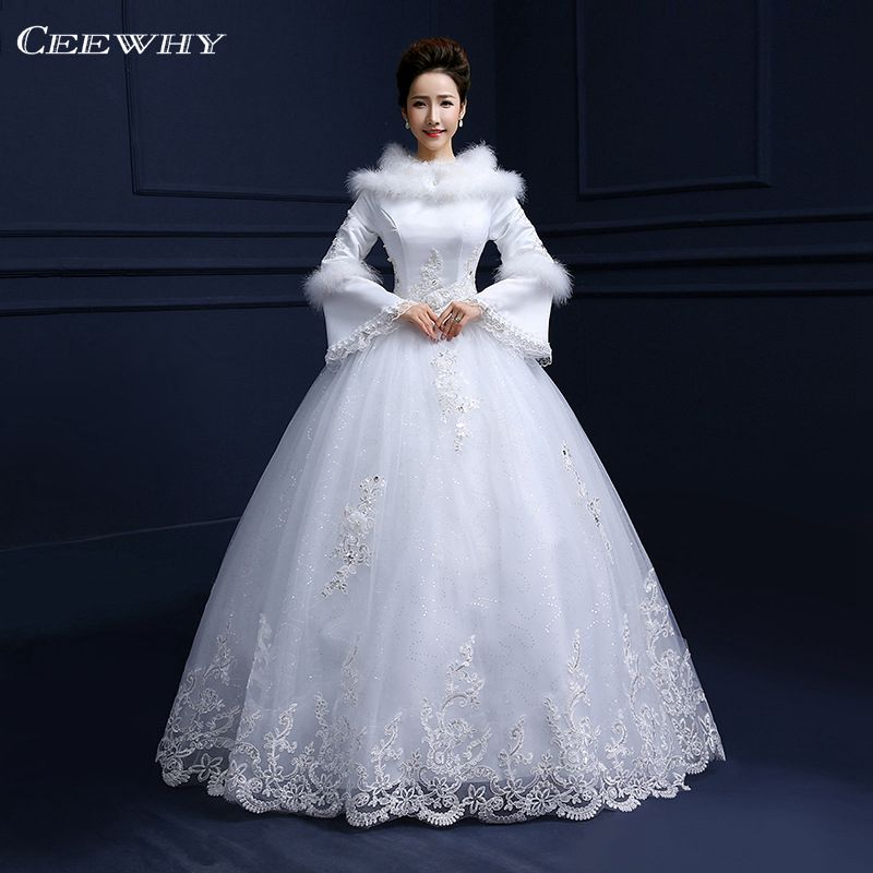White full sleeves feathers embroidery tiered winter for Tiered wedding dress with sleeves