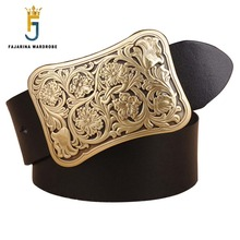 FAJARINA Top Quality Genuine Leather Floral Pattern Brass Slide Buckle Belts for Men Novelty Strap Mens Jeans Belt N17FJ149