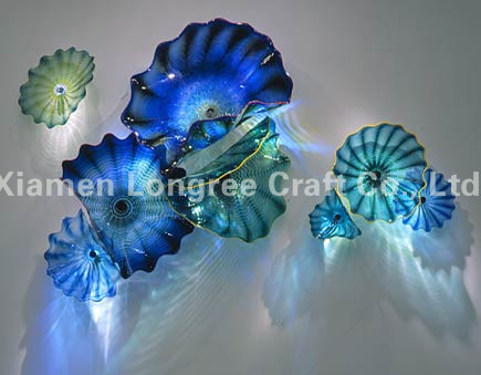 Superieur Design Ocean Series Blue Blown Glass Wall Crafts High Quality Nurano Glass  Chihuly Plate