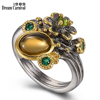DreamCarnival 1989 Hot Pick Vintage Flower Ring for Women Brown Color Zircon Two Tone Chic Fashion Jewelry Wedding Rings WA11668