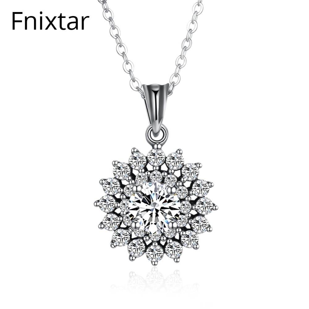 Fnixtar High Quality 925 Sterling Silver Sparkling Vintage Flower Pendant Necklaces With Clear CZ For Women Jewelry Wife Gift