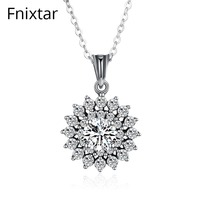 Fnixtar High Quality 925 Sterling Silver Sparkling Vintage Flower Pendant Necklaces With Clear CZ For Women