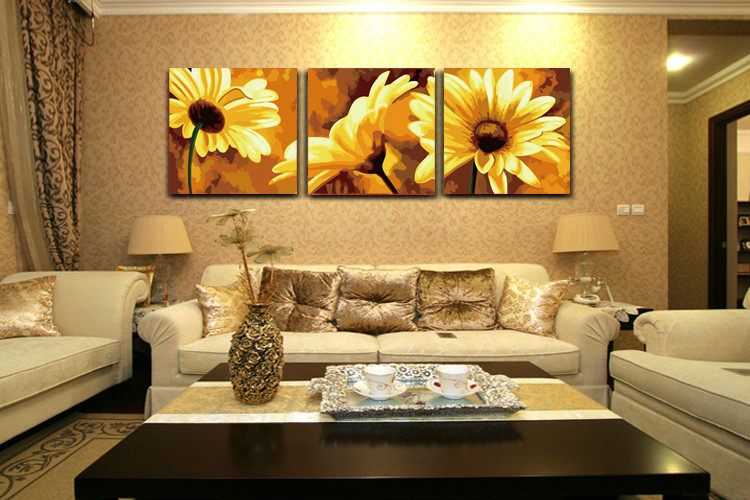 3 Pcs Frameless Large picture on wall acrylic oil painting by numbers flowers drawing by numbers unique gift paint by numbers