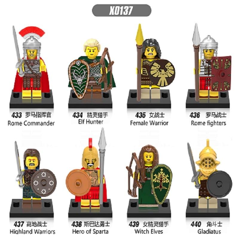Gladiatus Medieval Knights Rome Commander Female Highland Warrior Hero of Sparta Building Blocks Bricks Children Gift Toys X0137