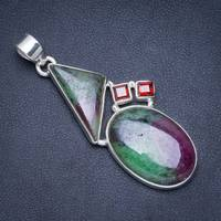 Natural Ruby Zoisite and Garnet Handmade Unique 925 Sterling Silver Pendant 2.25 A0021