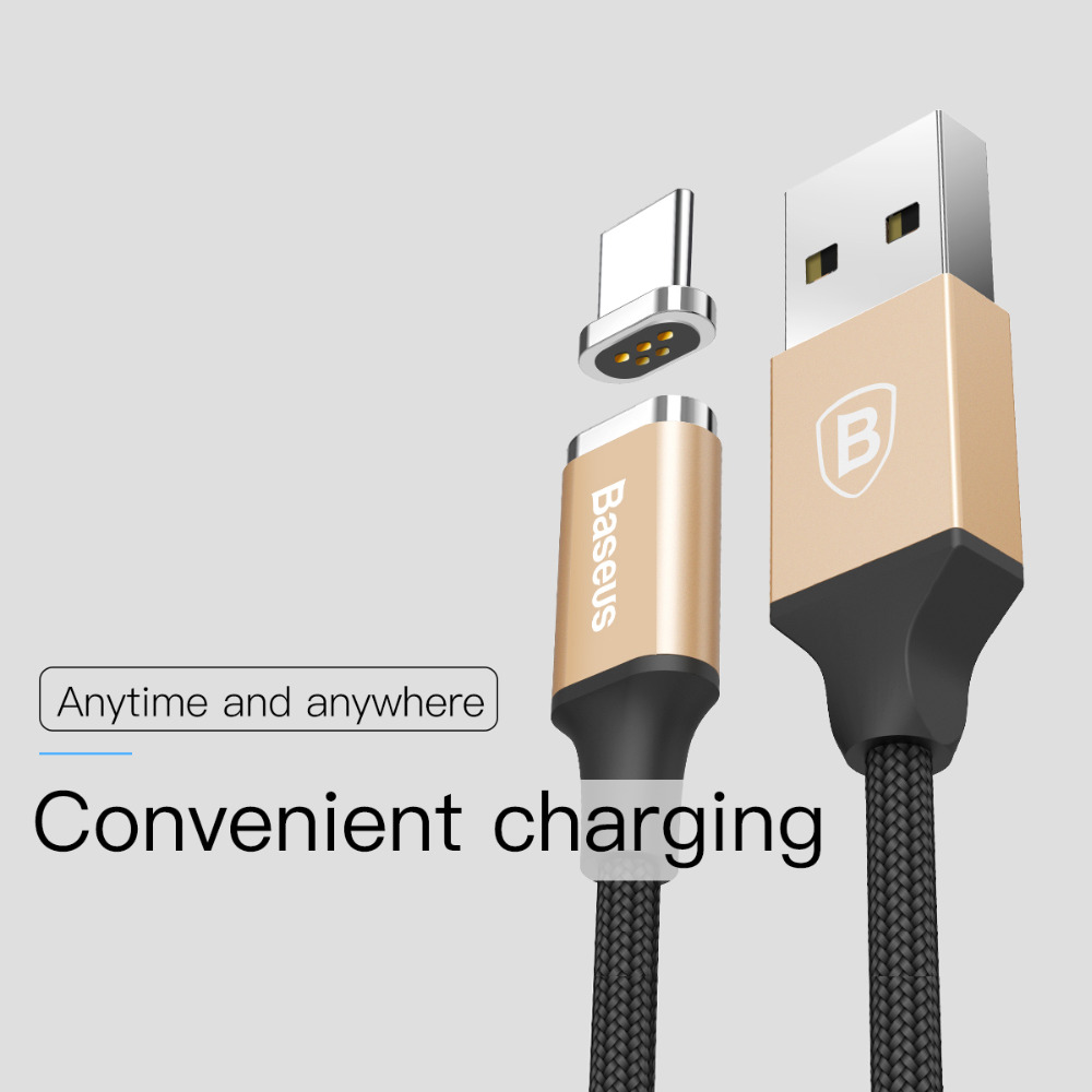 Baseus Magnetic USB Type-c charger cable for Samsung s8 sony xiaomi huawei Fast charging cable Universal Android USB-C phone LED