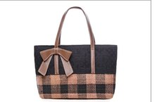 Cotton Linen Artsy Women Tote Bag PU Bow Decoration Mint Shoulder Mochila Mujer Handbag