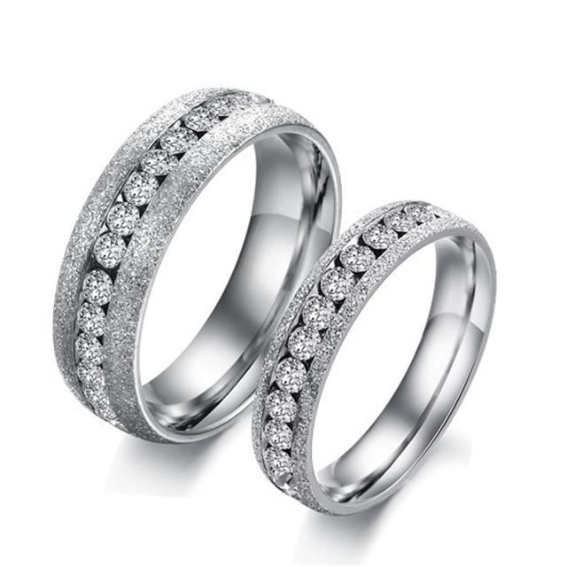 Populaire Reto Couple Anneaux De Mariage D'amour Anneau avec Pierre Shinning  ZU75