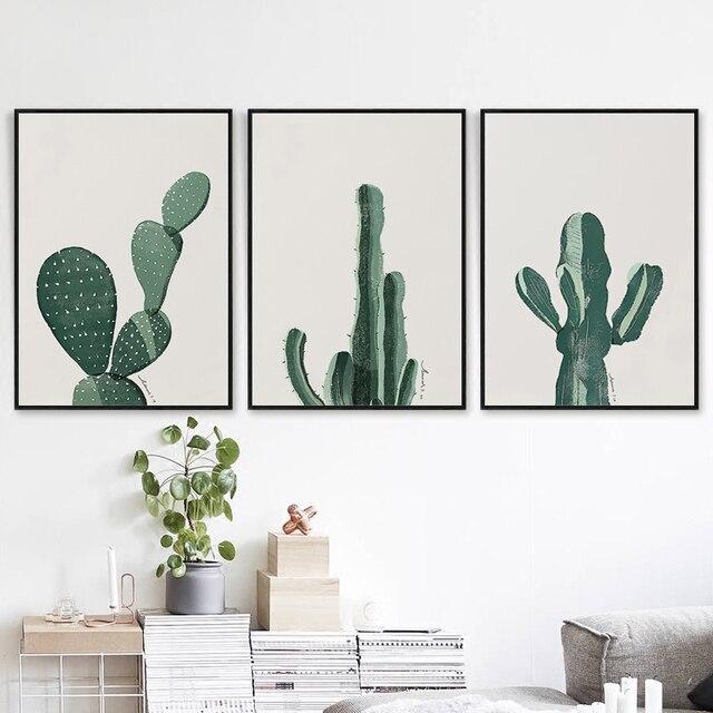 Bianche wall nordic minimalist art cactus canvas painting art print poster picture wall - Deco schilderij slaapkamer kind ...