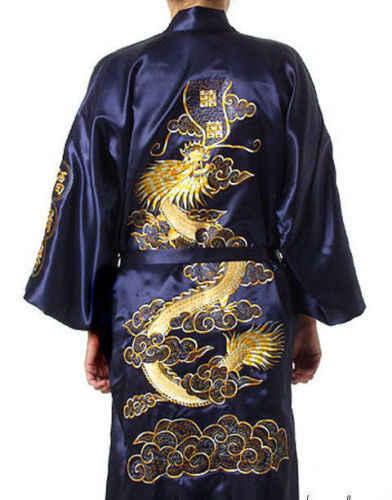 Бесплатная доставка! Китайская мужская шелковая атласная Вышивка в виде дракона юката кафтан халат платье с поясом M L XL XXL XXXL MR0016