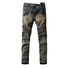 Stylish Fashion Stretch Slim Old School Washed Biker Jeans Men Skinny Ripped Brand New Motorcycle Runway Jeans Denim Overalls