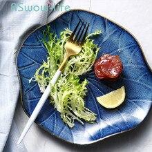 9 Inch Ceramic Plate Creative Lotus Leaf Plates Fruit Salad Dish Household Tableware Blue Dinner For Kitchen