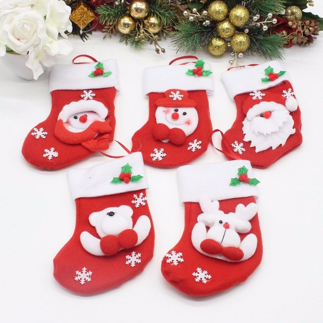 Us 8 99 5pcs Lot Christmas Tree Ornaments Mini Red Christmas Stockings Gifts And Sacks Personalized Christmas Decorations For Home In Christmas From