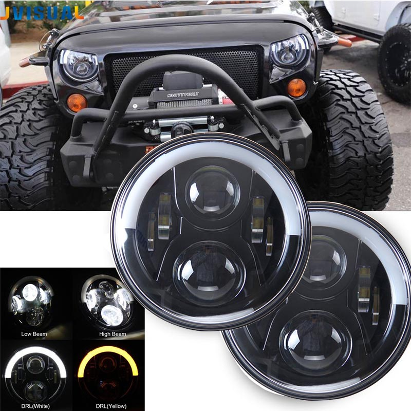 Pair 7 DRL Motorcycle Headlight LED Projector Daymaker Black H4 Headlamp For Jeep CJ Wrangler Land Rover Hummer Street Glide partol 1pc black 7 round led headlight drl daymaker projector headlamp car light hi lo beam for jeep wrangler land rover lada