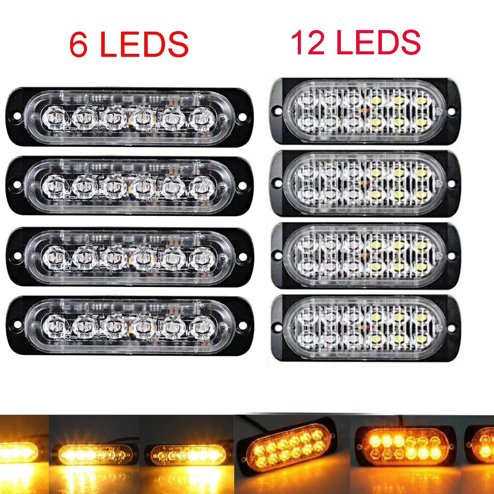 Voiture Camion Remorque Côté marqueur lumières stroboscopiques Ambre 6/12 LED Clignotant avertissement lampe 19 modes de flash 12 V-24 V Super lumineux
