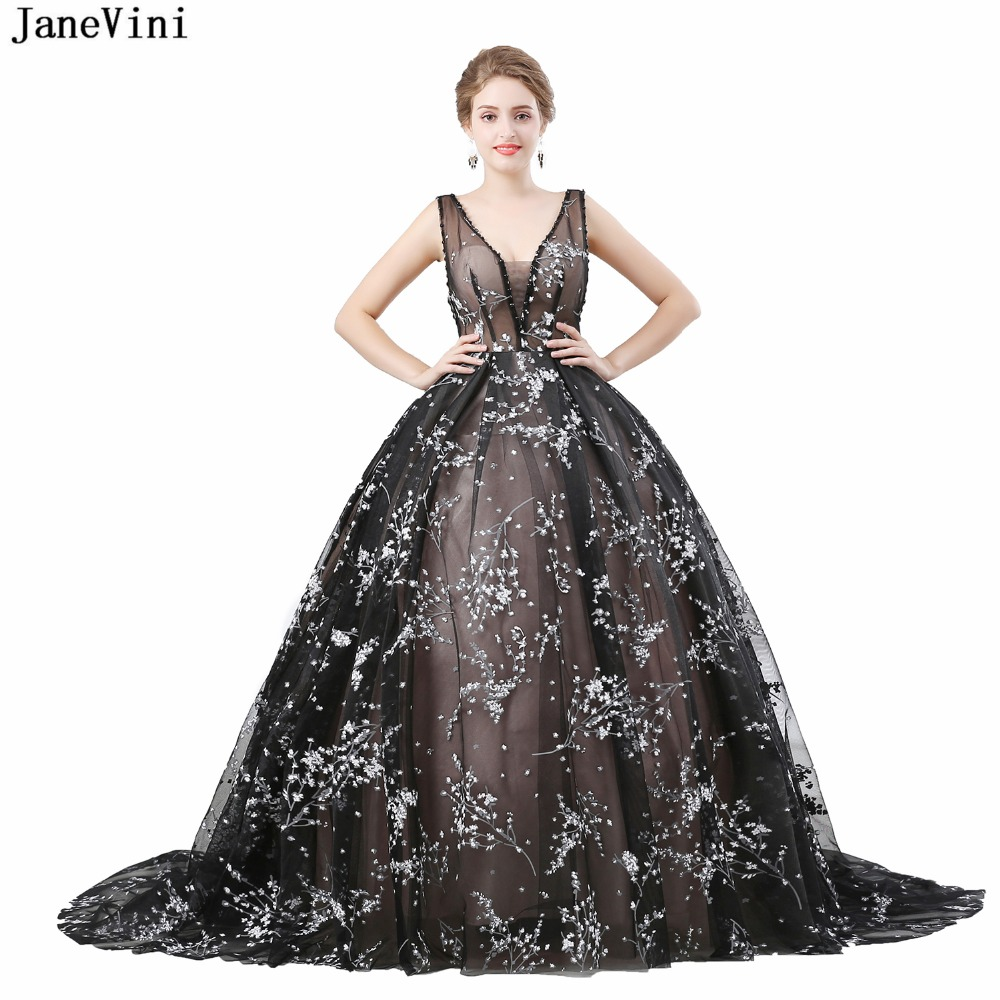 JaneVini Gorgeous Long   Bridesmaid     Dresses   Ball Gown Sleeveless Print Pattern Beaded Sexy Deep V Neck Plus Size Formal Prom Gowns