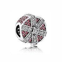 Top Quality 925 Sterling Silver Bead Charm Regalo Luccicante Con Red & cristallo Pulsante Misura Branelli Pandora Braccialetto Diy gioielli