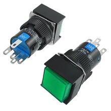 Здесь можно купить  5pcs Momentary 1NO 1NC 24V Green Neon Light Square Push Button Switch