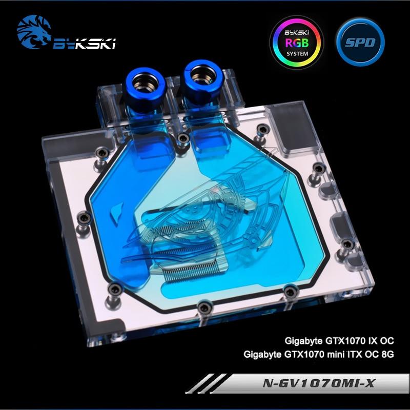 Bykski N-GV1070MI-X Full Cover Graphics Card Water Cooling Block RGB/RBW/ARUA for Gigabyte GTX1070 Mini ITX OC 8G ,GTX1070 IXOC bykski n ms1050 x full cover graphics card water cooling block rgb rbw arua for msi geforce gtx1050 1050ti windforce 2g