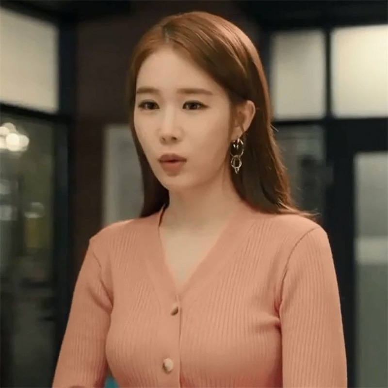 Korean Drama Touch Genuine Liu Renna Same Korean Version Pink 2019 Spring New Pit Ribbed Thin Knitted V neck Cardigan Sweater in Cardigans from Women 39 s Clothing