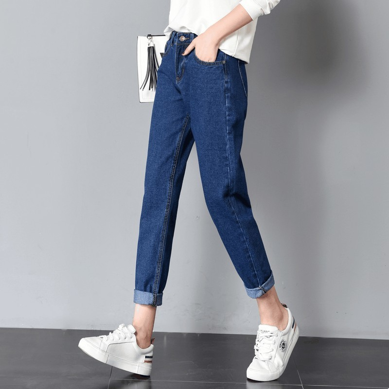 2018 Spring Summer Fashion Jeans For Women Loose Casual Hgih Waist Jeans BF Style Harem Denim Pants Trousers