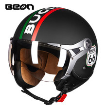 BEON B-100 vintage Motorcycle Helmet motorbike scooter retro Open face vespa cas