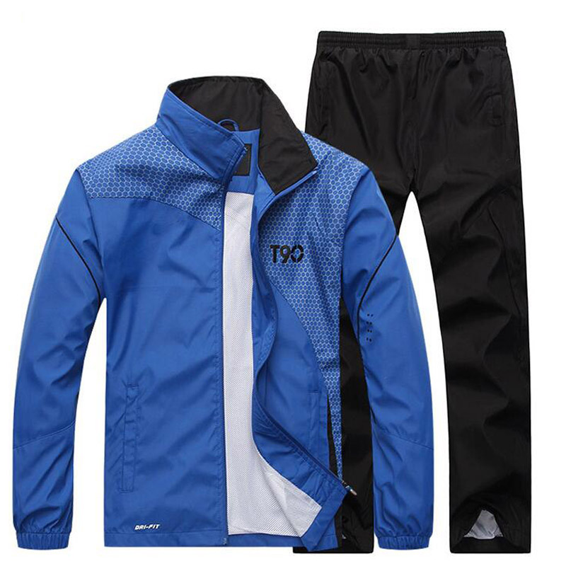 Plus Size Men Quick Dry Sports Suits Loose Print Tracksuits Mens Spring Autumn Fitness Running Suits Set Warm Jogging Tracksuit