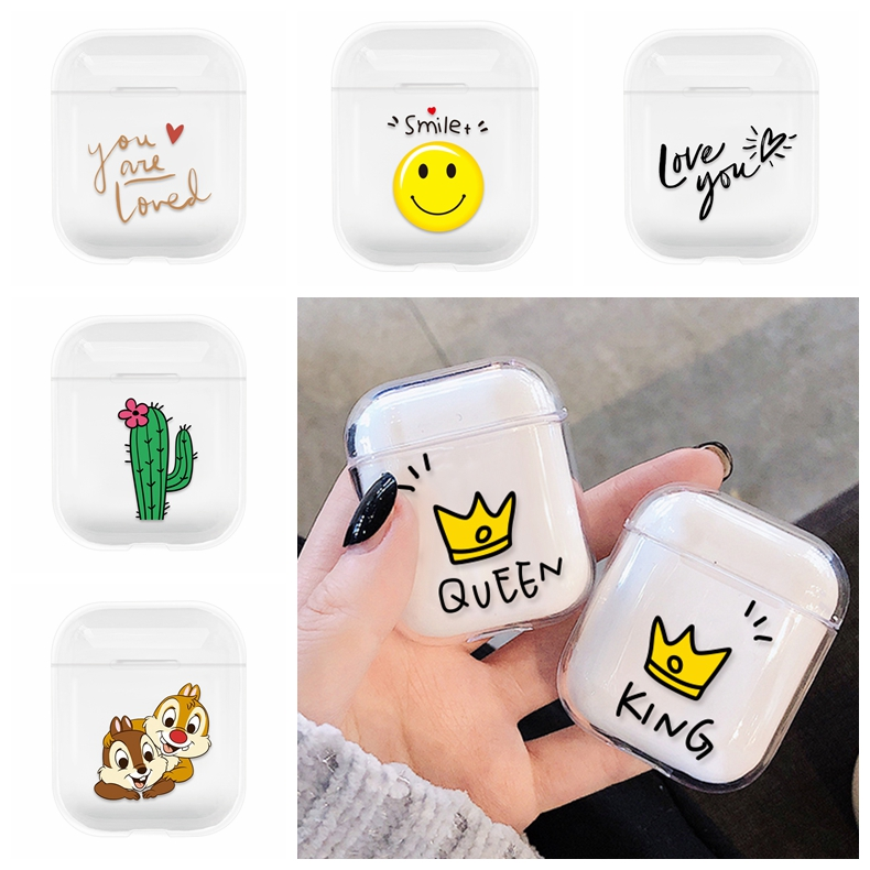 Cases For font b Airpods b font Cute Lovely Heart Painted Transparent Hard PC Cases For