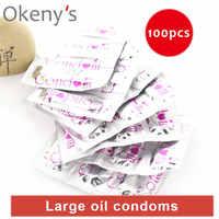 Ultra Sottile Preservativi di Ritardo Olio di Grandi Dimensioni 100pcs Del Sesso Punteggiato G Spot Preservativi Intimo Erotico Giocattolo per Gli Uomini Sicuro Contraccezione preservativo femminile