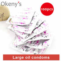 Ultra Thin Large Oil Delay Condoms 100pcs Sex Dotted G Spot Condoms Intimate Erotic Toy for Men Safe Contraception Female Condom
