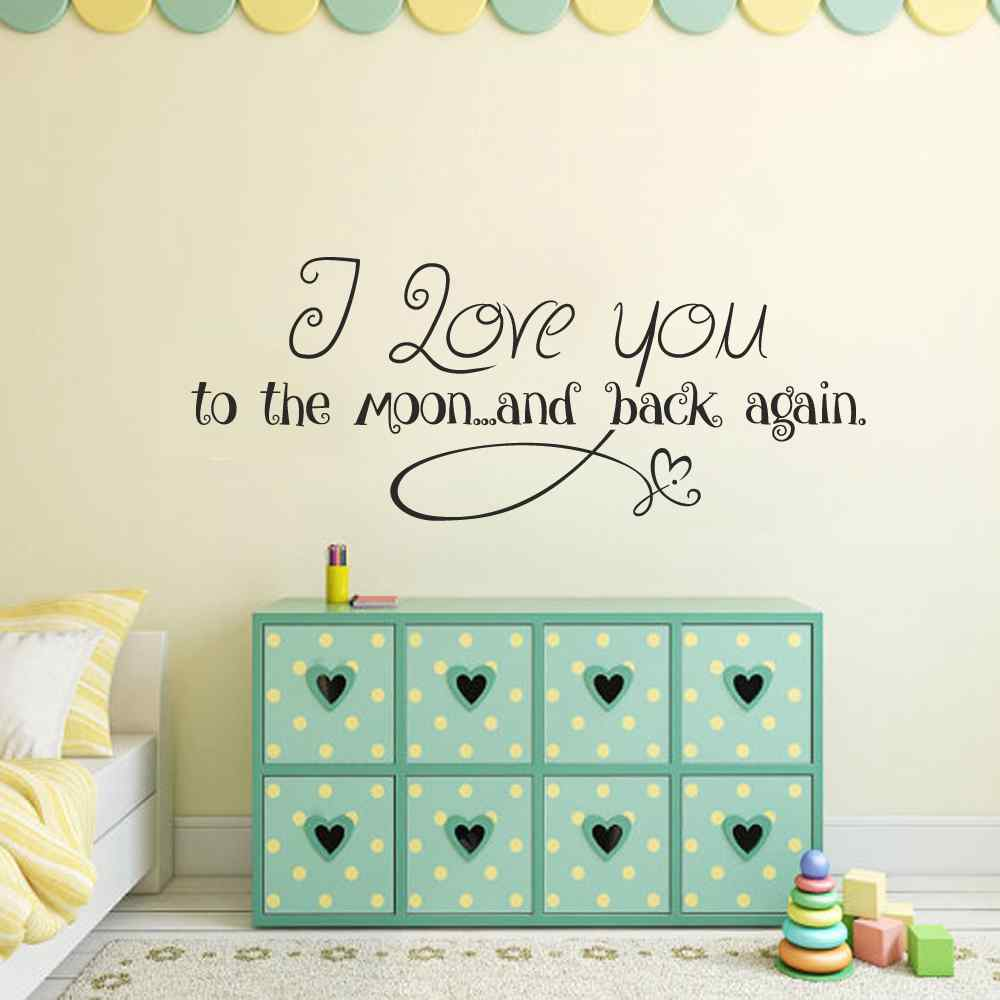 I love you to the moon and back Vinyl Wall Decal - Childs Room Vinyl Wall Decal - Baby Room Vinyl Nursery Wall Decal Quote