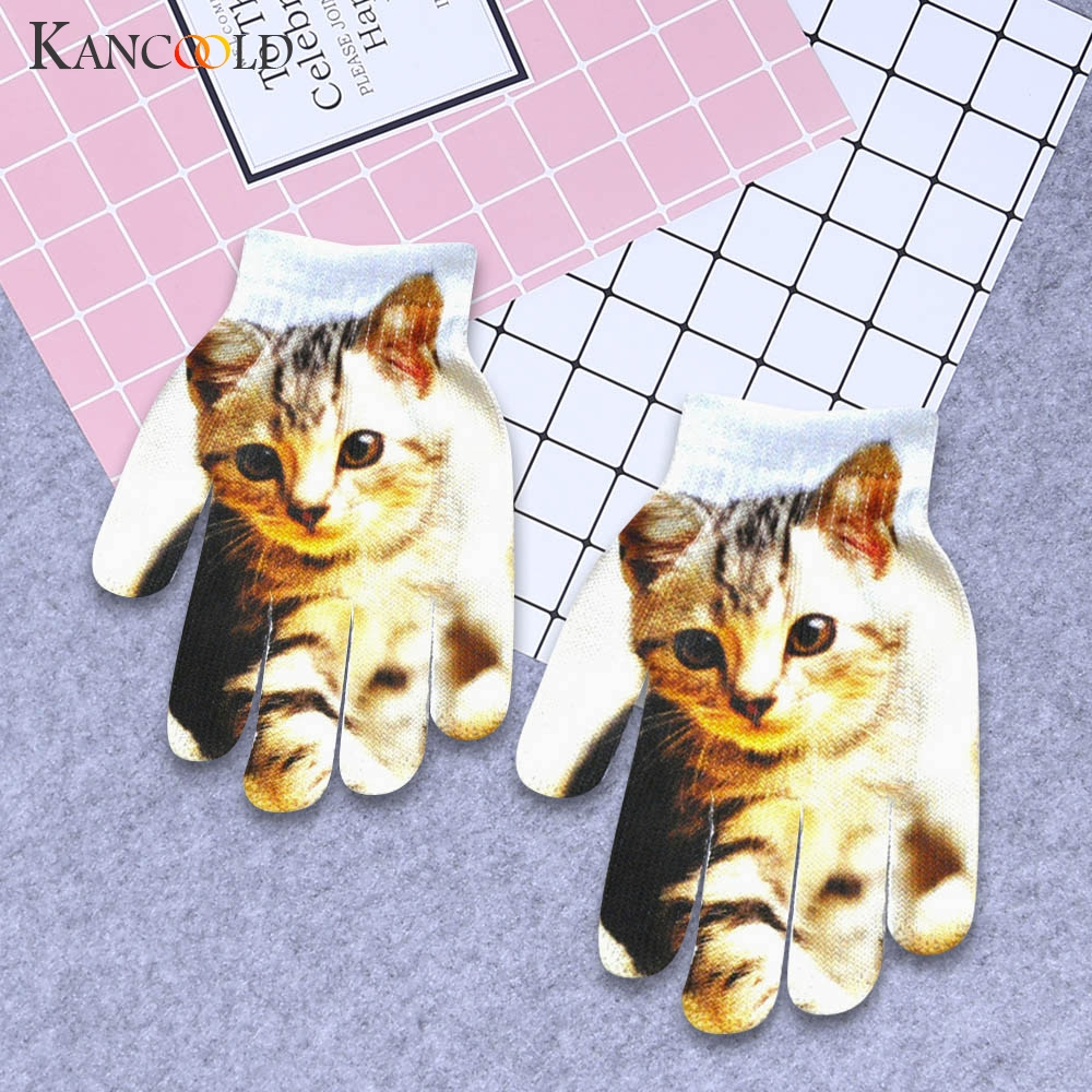 KANCOOLD Gloves Children Kids Winter Warm 3D Animal Print Knitted Kitty Pet Cute Gloves Fashion Cotton Gloves Women 2018NOV29