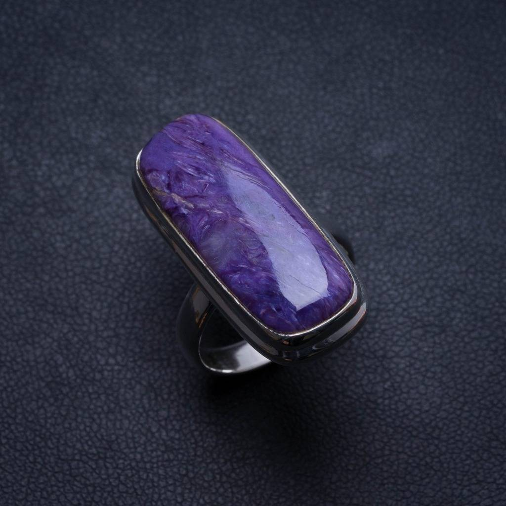 Natural Charoite Handmade Unique 925 Sterling Silver Ring, US size 7 X1923 natural dendritic opal handmade unique 925 sterling silver ring us size 7 75 x1648
