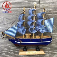 LUCKK 16CM Mediterranean Wooden Model Ships Sea Blue Home Interior Decoration Wood Crafts Room Creative Sailboat Souvenirs