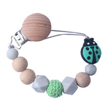 Wooden Beads Silicone Bead Baby Pacifier Chain Clip Clips Wood Attache Sucette Crochet Dummy Pacifiers Soother Holder(China)