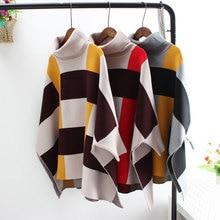 цена на Fashion Elegant Plaid Turtleneck Sweater Women Bat Sleeve Winter Warm Wool Jumper Loose Pullover Female Oversized Sweaters Cloak