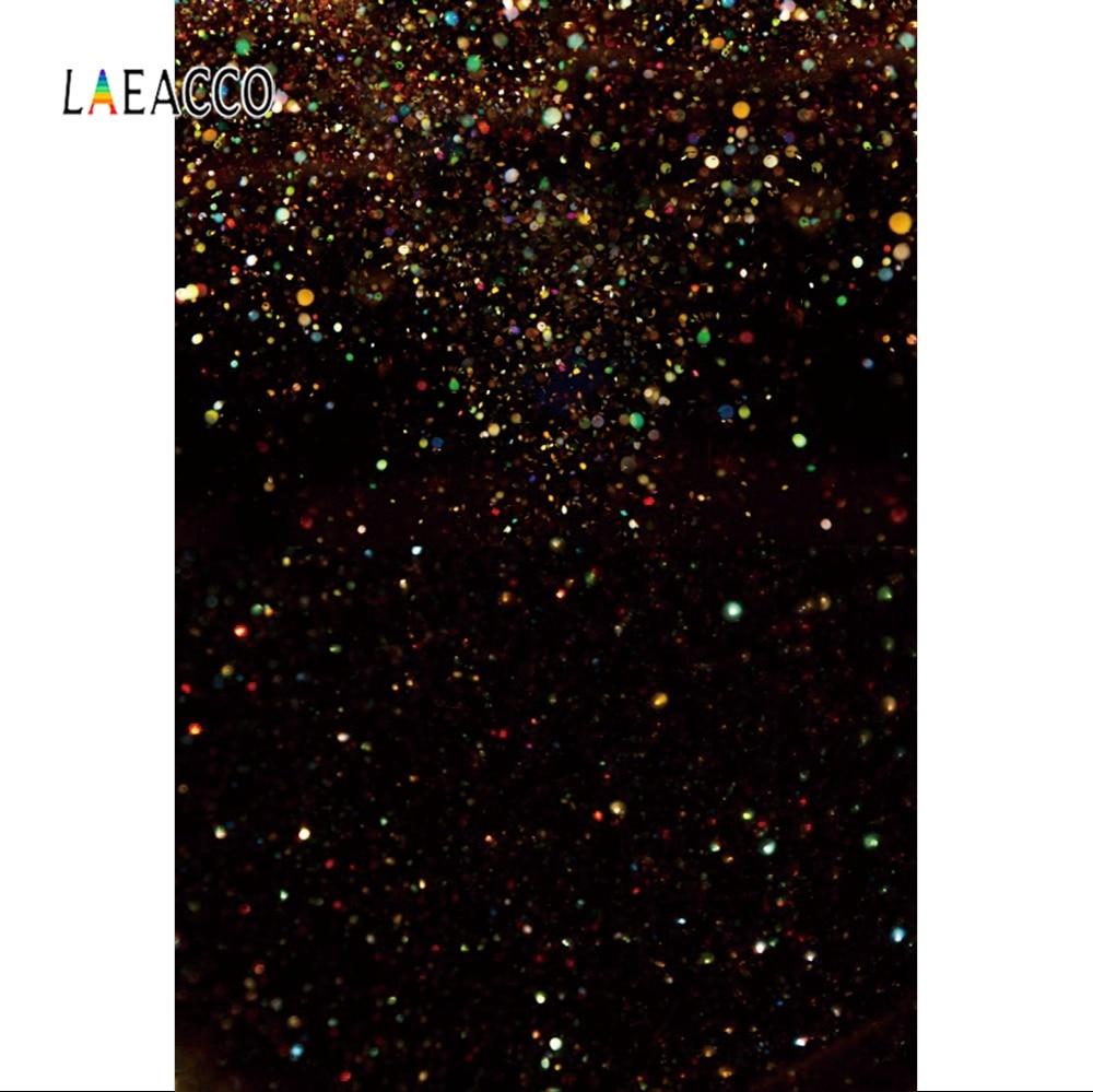 Laeacco Photo Backdrop Fantasy Black Color Polka Dots Light Bokeh Love Party Pattern Photography Background For Photo Studio