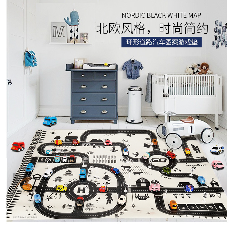 HTB17bjgXIvrK1Rjy0Feq6ATmVXaf North European Style Kid Car City Scene Traffic Highway Map Play Mat Educational Toy For Children Toddler Climb Game Road Carpet