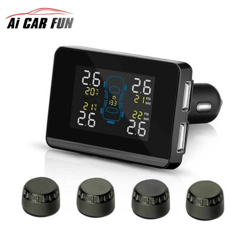 Car Wireless TPMS Tire Pressure Monitoring System with 4 Sensors LCD Display Monitor Cigarette Lighter Socket free shipping auto car wireless tpms tire pressure monitoring system with 4 sensors lcd display monitor cigarette lighter socket free shipping
