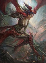 anime girls dragon wings woman 4 Sizes Home Decoration Canvas Poster Print