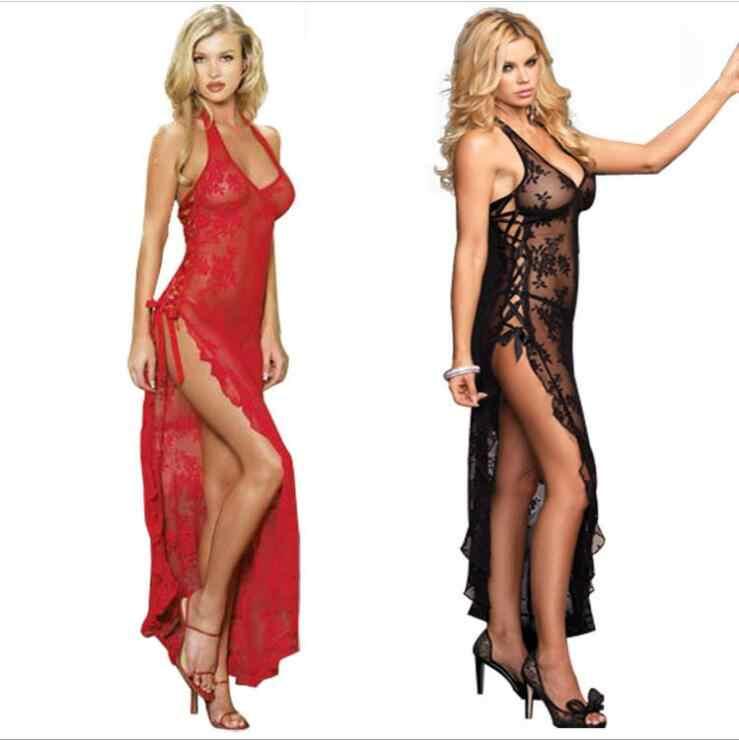 Plus Size 6XL White Black Red Mesh sheer night dressing gown dress Sexy  long nightgown sleepwear 5fd9b1dce
