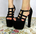 high heels shoes sandals black shoes pumps PU sexy open toe platform shoes sy-1058