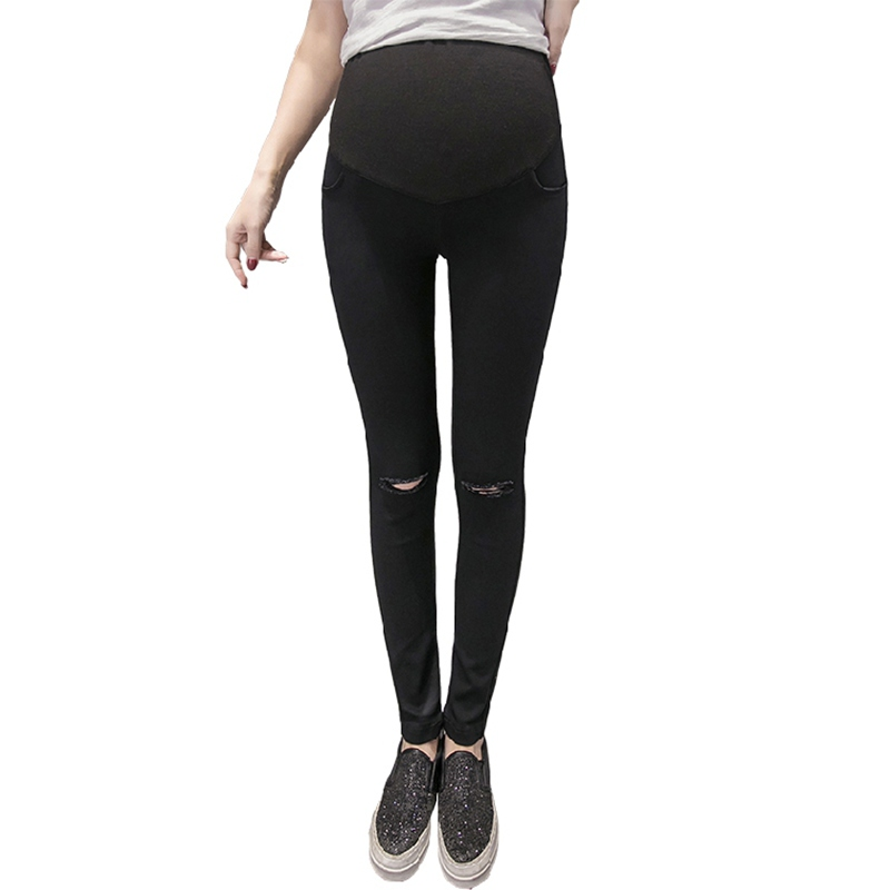 Spring and summer Korean women pregnant women hole hole stomach lift trousers was thin pregnant women leggingsSpring and summer Korean women pregnant women hole hole stomach lift trousers was thin pregnant women leggings