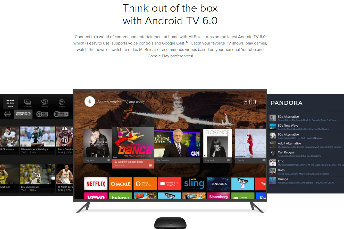 US $107 68 |Original Xiaomi MI BOX Android 6 0 Smart Set top TV Box 4K Quad  Core WIFI Youtube Sling TV Netflix DTS Dolby IPTV Media Player-in Set-top