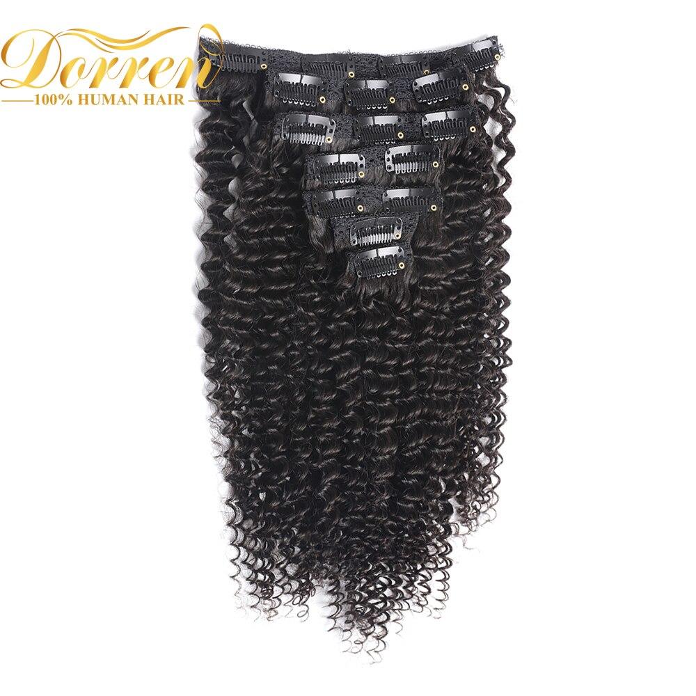 Doreen Hair Brazilian Deep Curly Weave Remy Hair Clip In Human Hair Extensions  Full Head 120G 160g