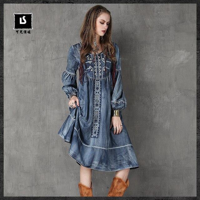 2017 бренд Для женщин одежда осень носить большой Размеры Джинсы для женщин в национальном стиле Вышивка круглый Средства ухода за кожей шеи платье с длинными рукавами