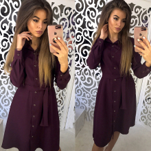 Shirt Dress 2019 Women Autumn Spring Sashes Dress Long Sleeve Turn-Down Collar Casual Dress Casual Mini Office Straight Dress spring autumn shirt dress women turn down collar full sleeves casual striped button belt dresses mini vestidos s xl 2019