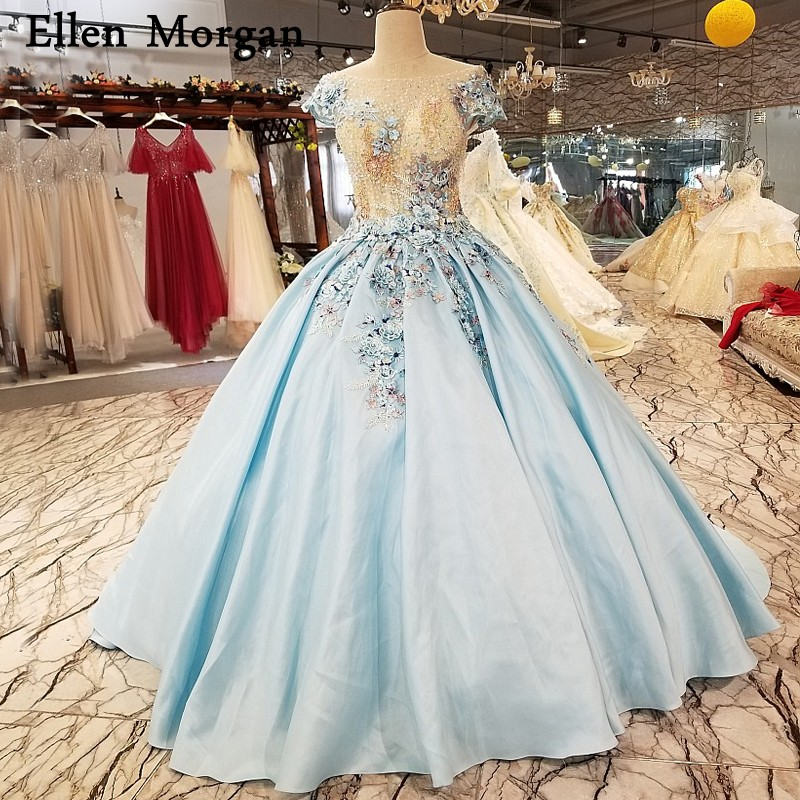 Light Sky Blue Satin Ball Gowns Wedding Dresses For Beauty